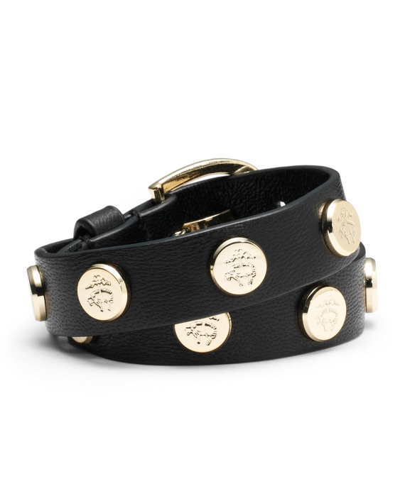 Double Wrap Studded Bracelet Black