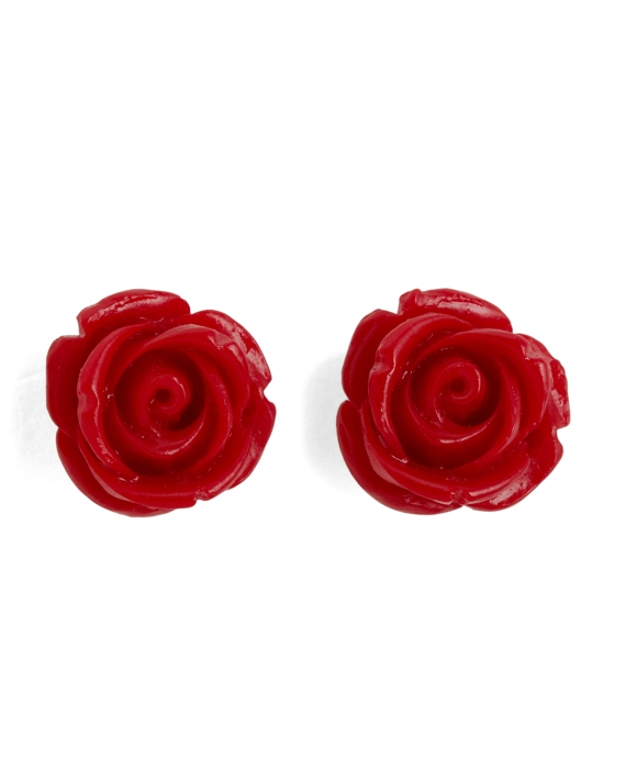 Rose Stud Earrings Red