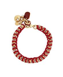 Metal Link Bracelet with Woven Ribbon
