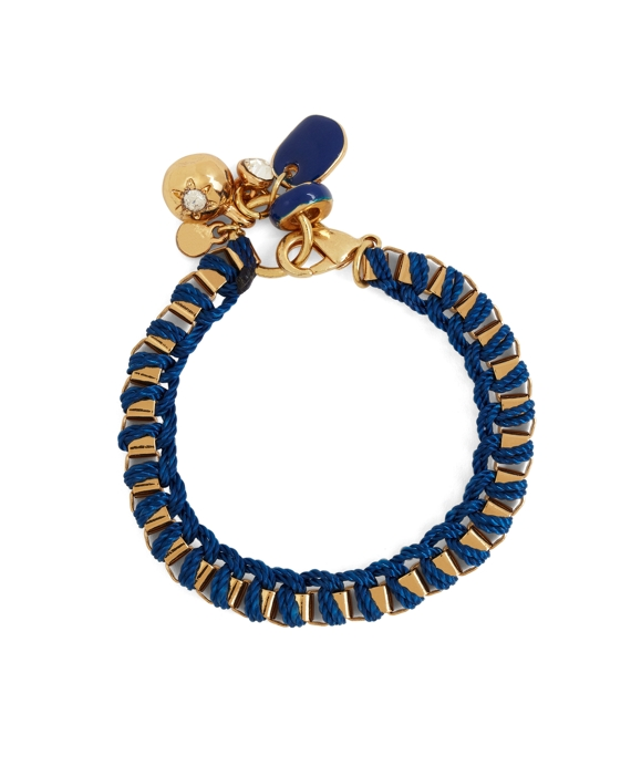 Metal Link Bracelet with Woven Ribbon Navy