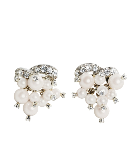 Pearl Cluster Button Earrings Pearl-Crystal