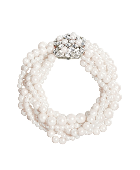 Pearl Seven-Row Stretch Bracelet Pearl-Crystal