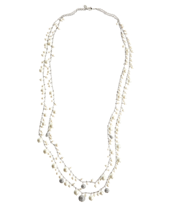 Pearl Charm Necklace Pearl-Crystal