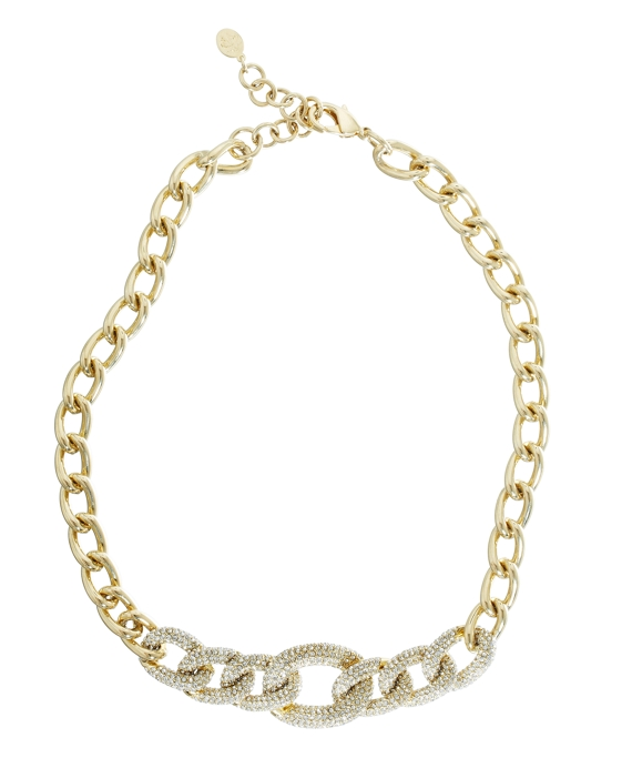 Pave Link Necklace Gold