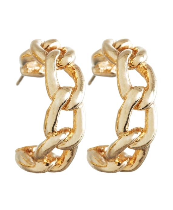 Link Half-Hoop Earrings Gold