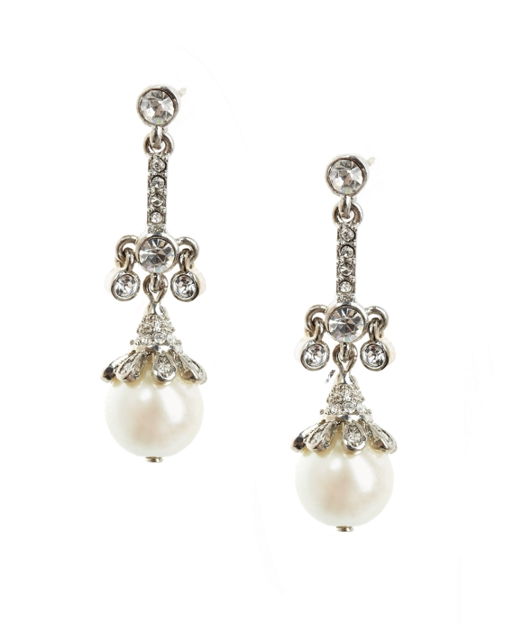 Pearl Drop Earrings Pearl-Crystal
