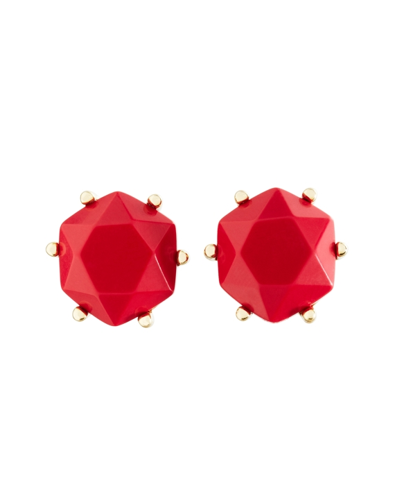 Stone Stud Earrrings Red-Gold