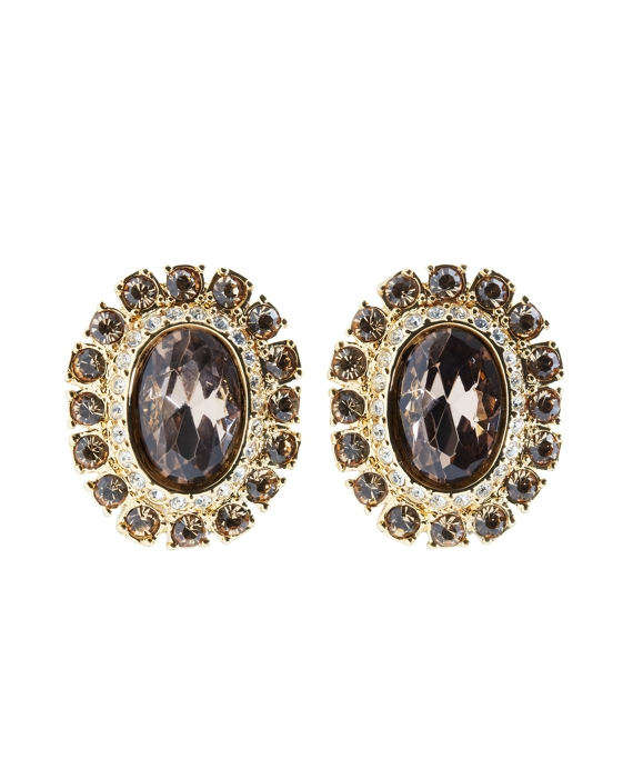 Goldwash Crystal Pave Clip Earrings As Shown