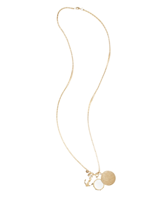 Three Charm Necklace Gold