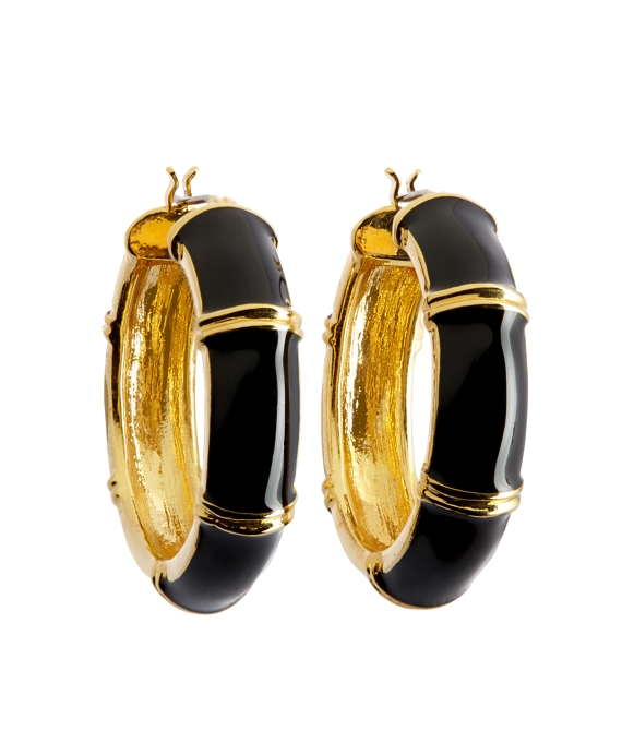 Gold and Black Medium Hoop Earrings Black-Gold