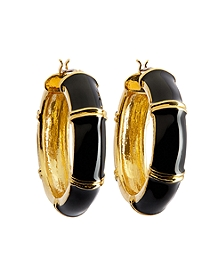 Gold and Black Medium Hoop Earrings