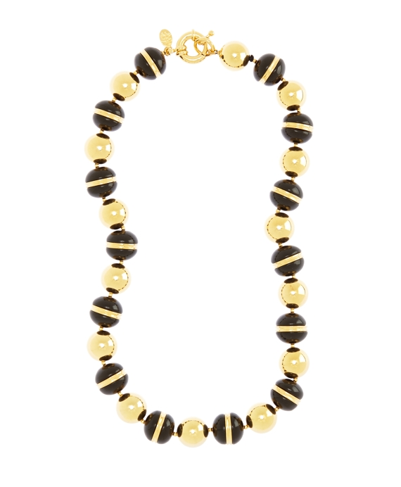 Gold and Black Bead Collar Necklace Black-Gold