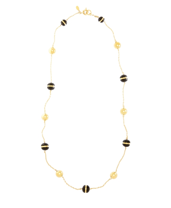 Gold and Black Bead Illusion Necklace Black-Gold