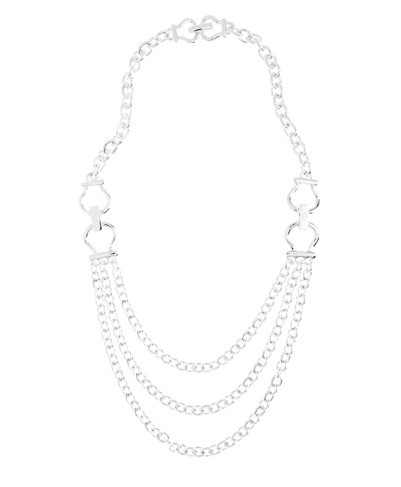 Equestrian Three-Chain Necklace Silver