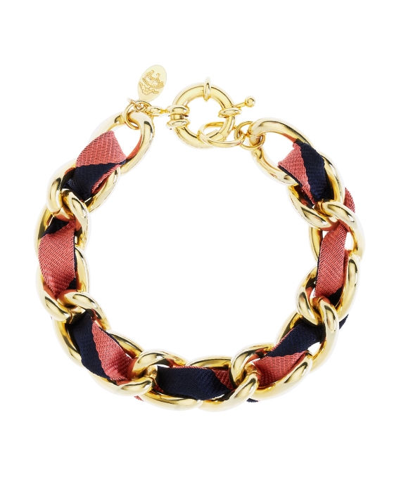 Ribbon Chain Bracelet Gold-Navy-Pink