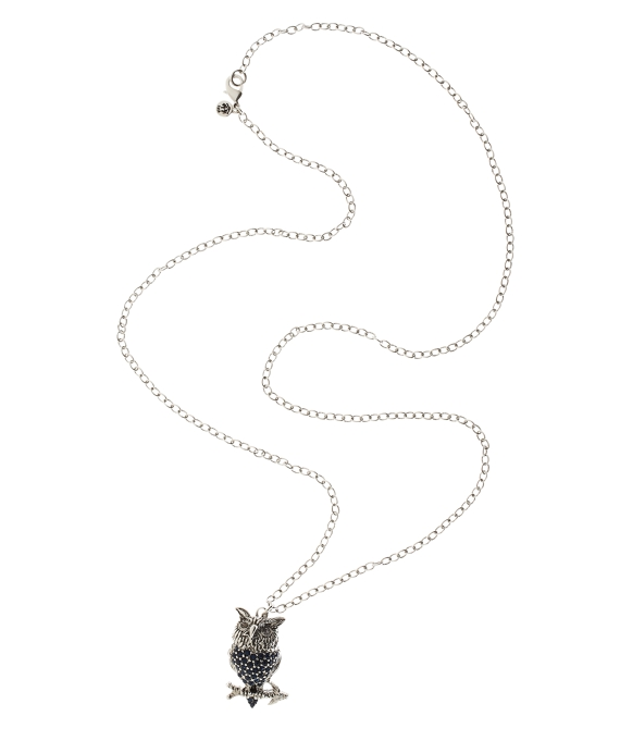 Owl Charm Necklace Silver