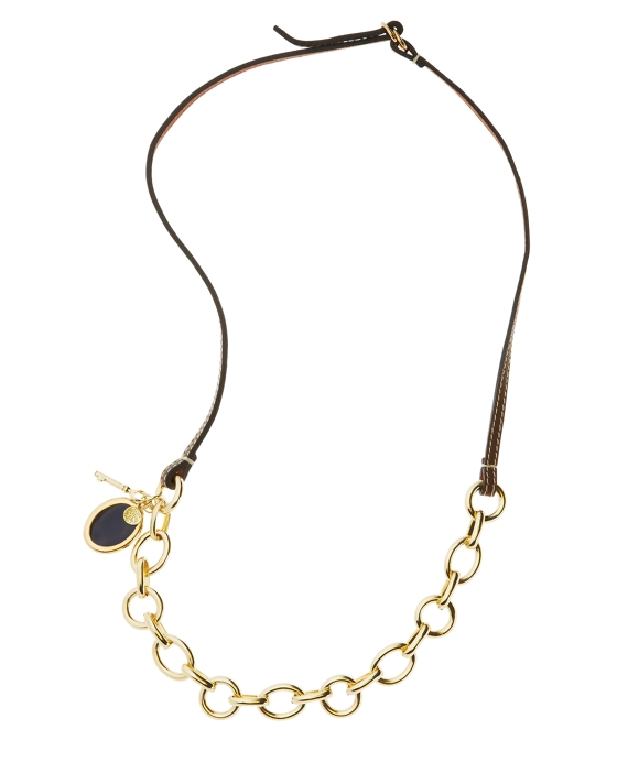 Leather Link Charm Necklace Brown-Gold