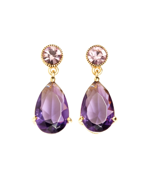 Vintage Double Drop Earrings Amethyst-Gold
