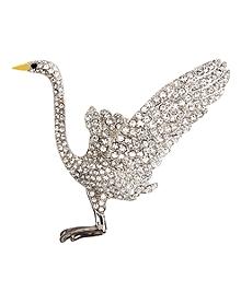 Audubon Crane Crystal Brooch
