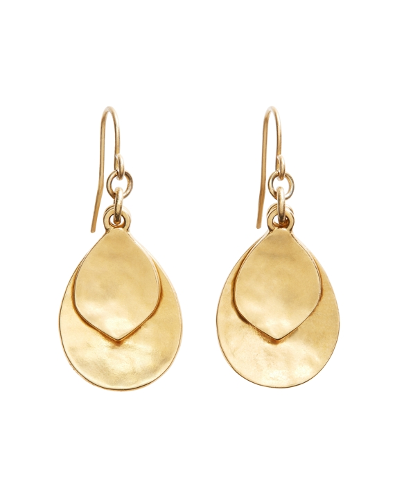 Gold Hammered Drop Earrings Gold