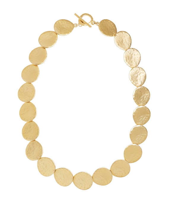 Gold Hammered Collar Necklace Gold