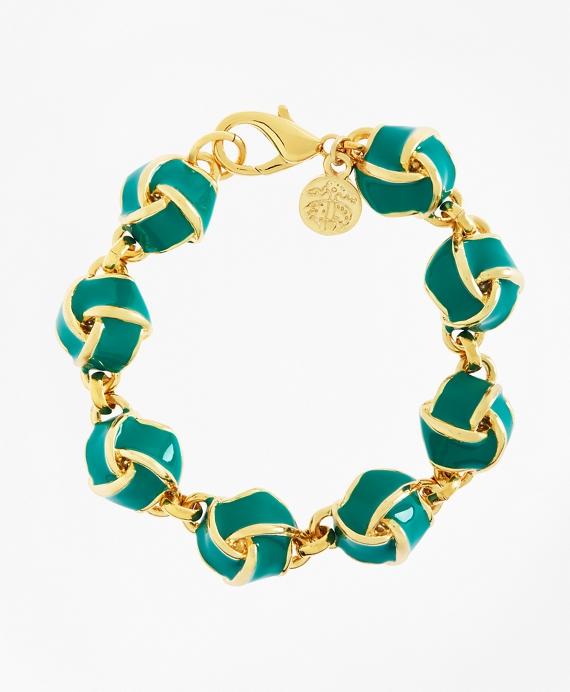 Enamel Knot Link Bracelet Teal