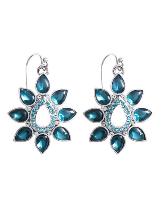 Floral Drop Earrings Blue-Green