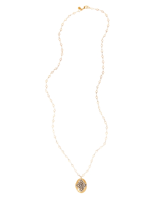 Crystal Stone Locket Necklace Gold