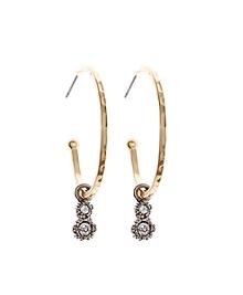 Gold Hoop Earrings with Crystal Charm