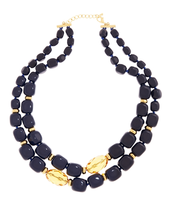 Stone Two Row Necklace Blue-Gold