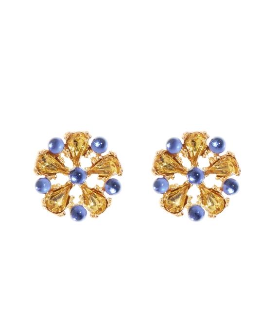 Crystal Stone Flower Button Earrings Blue