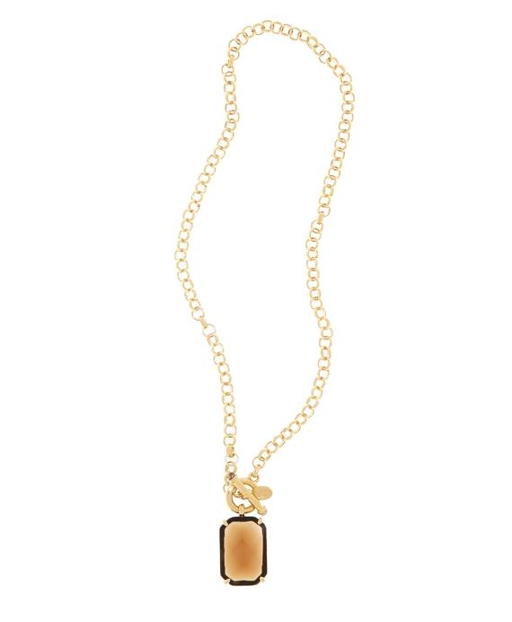 Amethyst & Topaz Pendant Necklace Gold