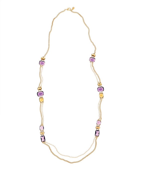 Amethyst & Topaz Illusion Necklace Gold