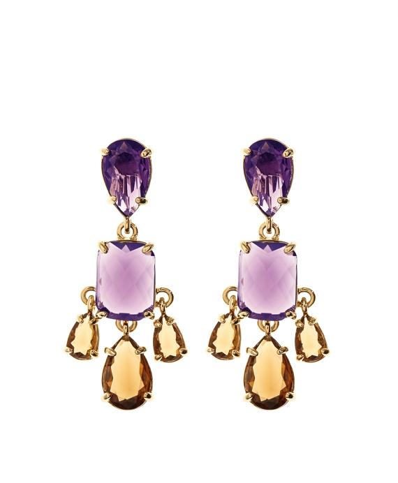 Amethyst & Topaz Earrings Gold