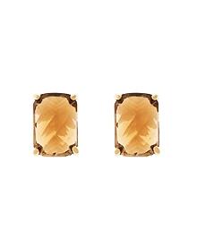 Amethyst & Topaz Button Earrings