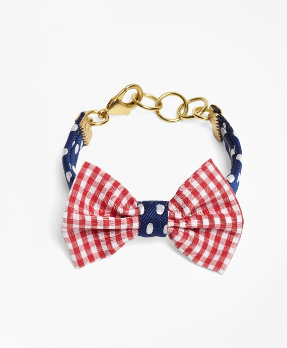 Kiel James Patrick Gingham and Polka Dot Bow Tie Bracelet Red-Navy