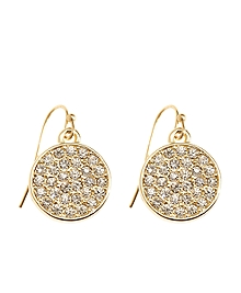 Stone Disc Drop Earrings