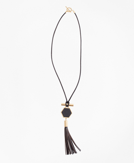 Leather Hexagon Tassel Pendant Necklace