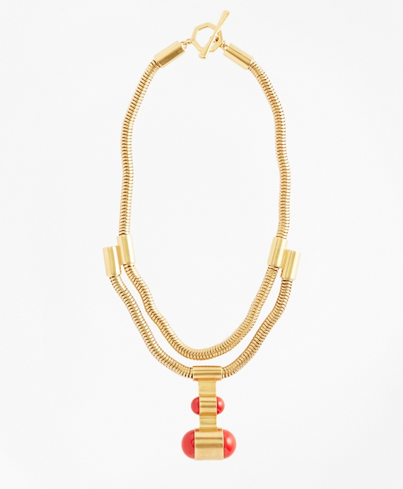 Gold-Plated Coil Pendant Necklace