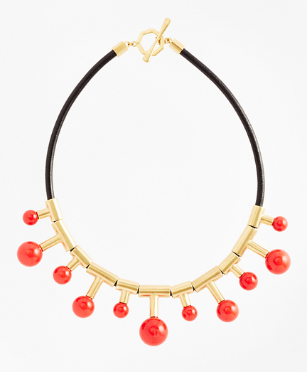 Gold-Plated Coral Sphere-Drop Leather Necklace