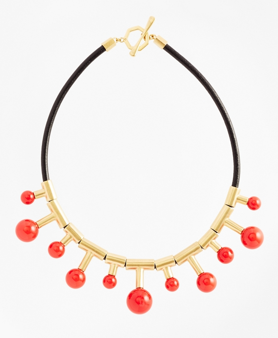 Gold-Plated Coral Sphere-Drop Leather Necklace Coral