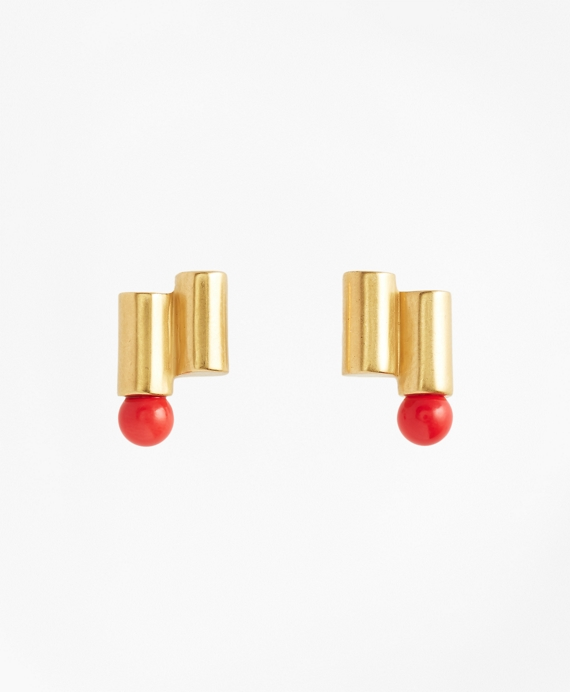 Gold-Plated Coral Sphere Cylinder Earrings Coral