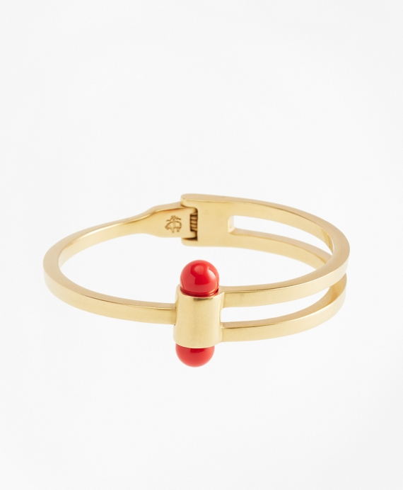 Gold-Plated Coral Sphere Bangle Cuff Coral