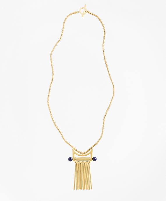 Gold-Plated Pendant Necklace Blue