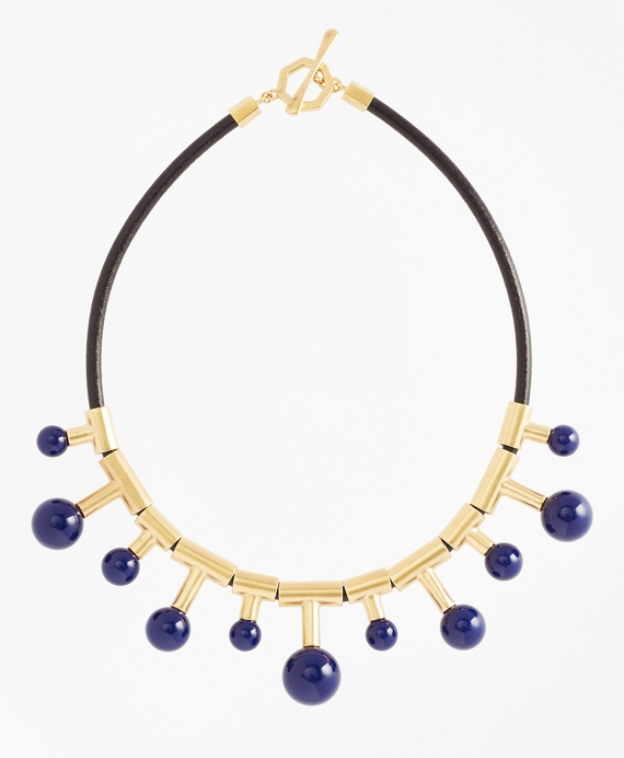 Gold-Plated Sphere-Drop Leather Necklace