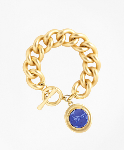 Gold-Plated Toggle Pendant Bracelet
