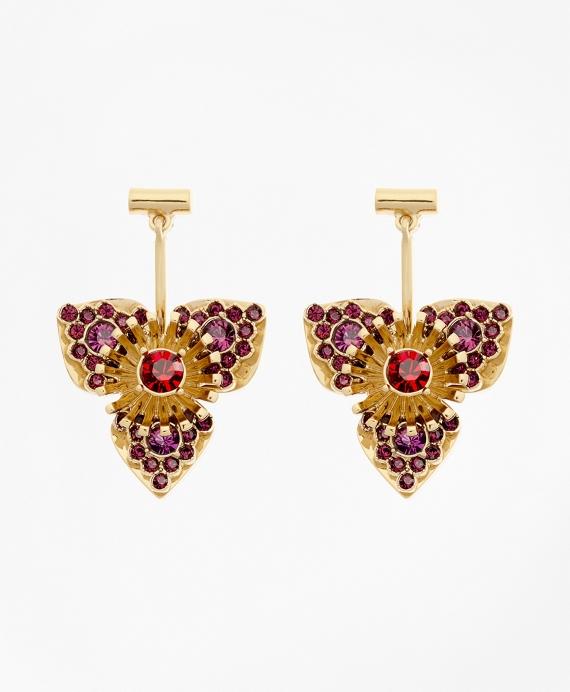 Swarovski Crystal Floral Drop Earrings Gold