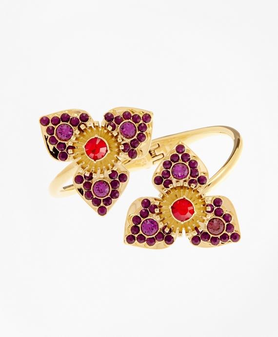 Swarovski Crystal Floral Cuff Bracelet Gold