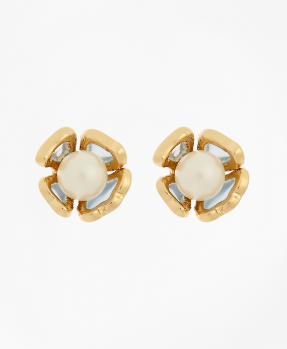 Floral Glass Pearl Stud Earrings Gold-Blue