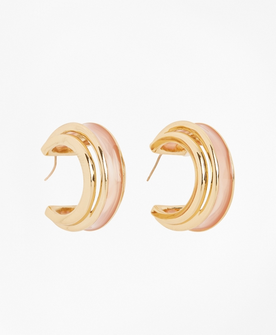 Plique-a-Jour Enamel Hoop Earrings Gold